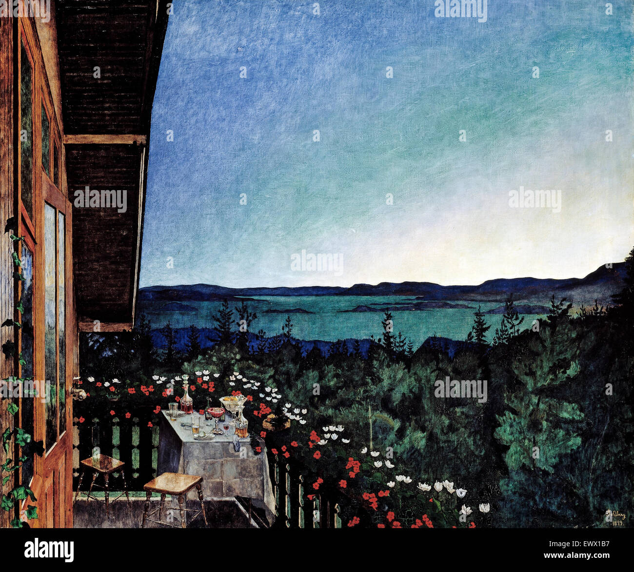 Harald Sohlberg, Summer Night 1899 Oil on canvas. National Museum of Art, Architecture and Design, Oslo, Norway. - Stock Image