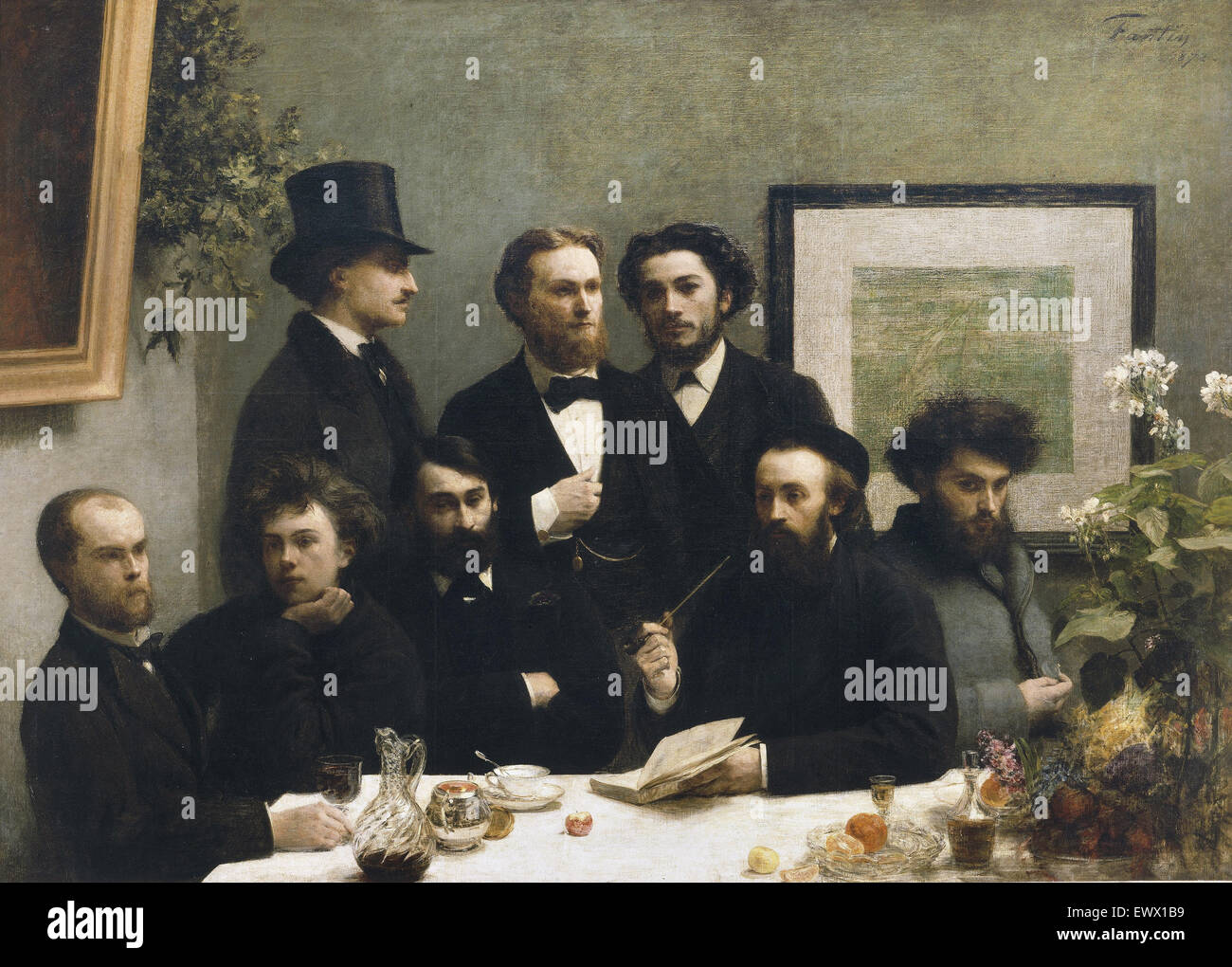 Henri Fantin-Latour, By the Table 1872 Oil on canvas. Musee d'Orsay, Paris, France. - Stock Image