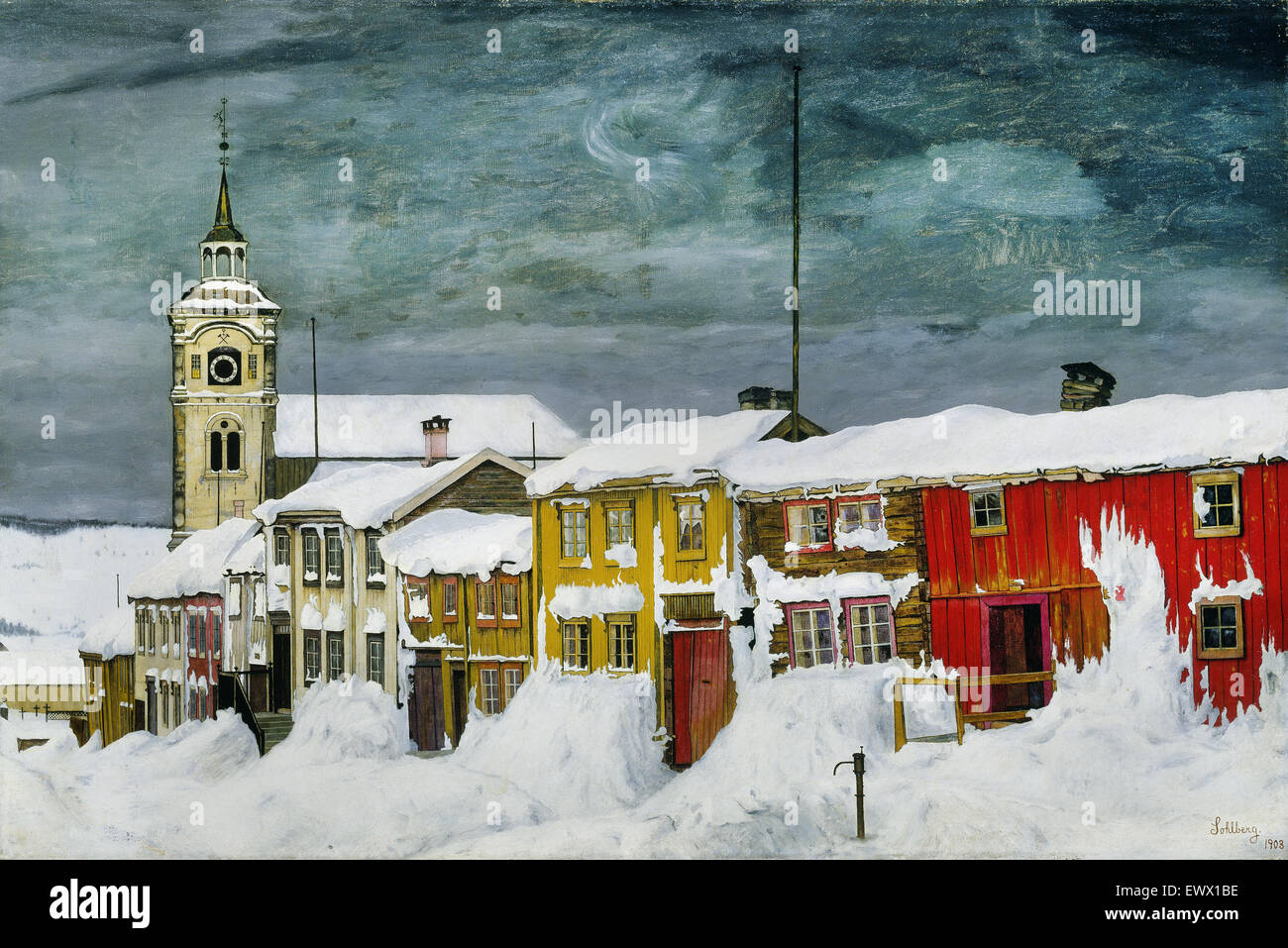 Harald Sohlberg, Street in Roros in Winter 1903 Oil on canvas. National Museum of Art, Architecture and Design, - Stock Image