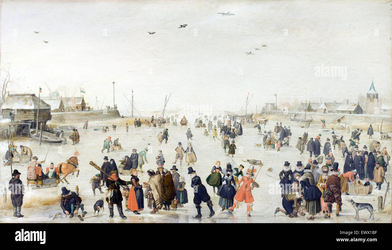 Hendrick Avercamp, Winter Scene on a Frozen Canal 1620 Oil on wood. Los Angeles County Museum of Art, USA. - Stock Image