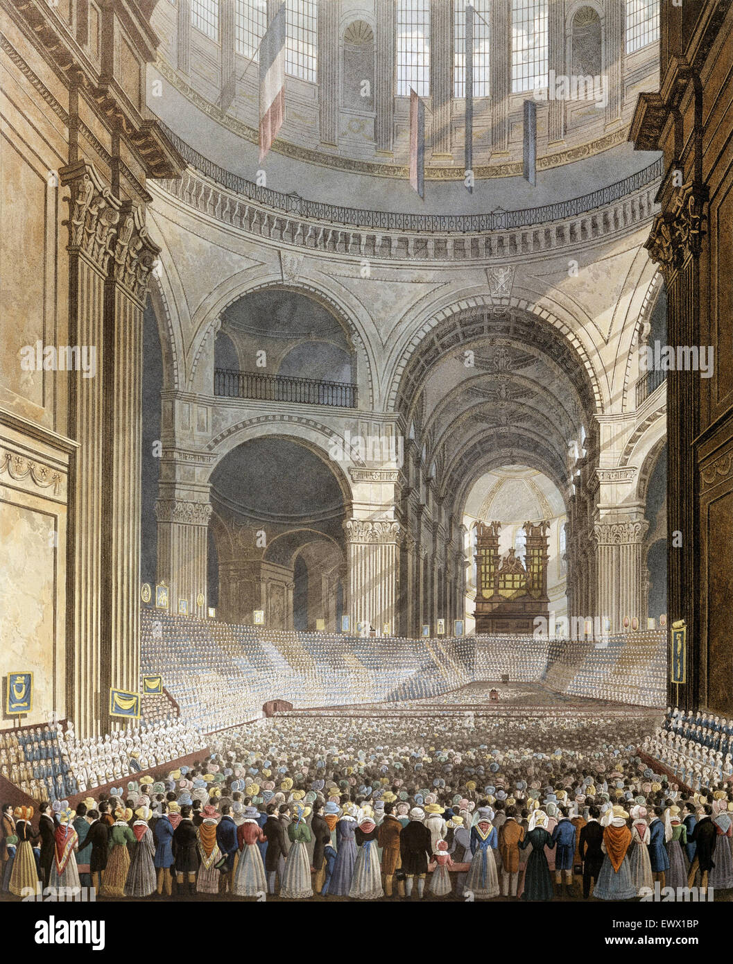 Robert Havell, Jr., The Anniversary Meeting of the Charity Children in the Cathedral of St. Paul. 1826 Paper; ink, - Stock Image