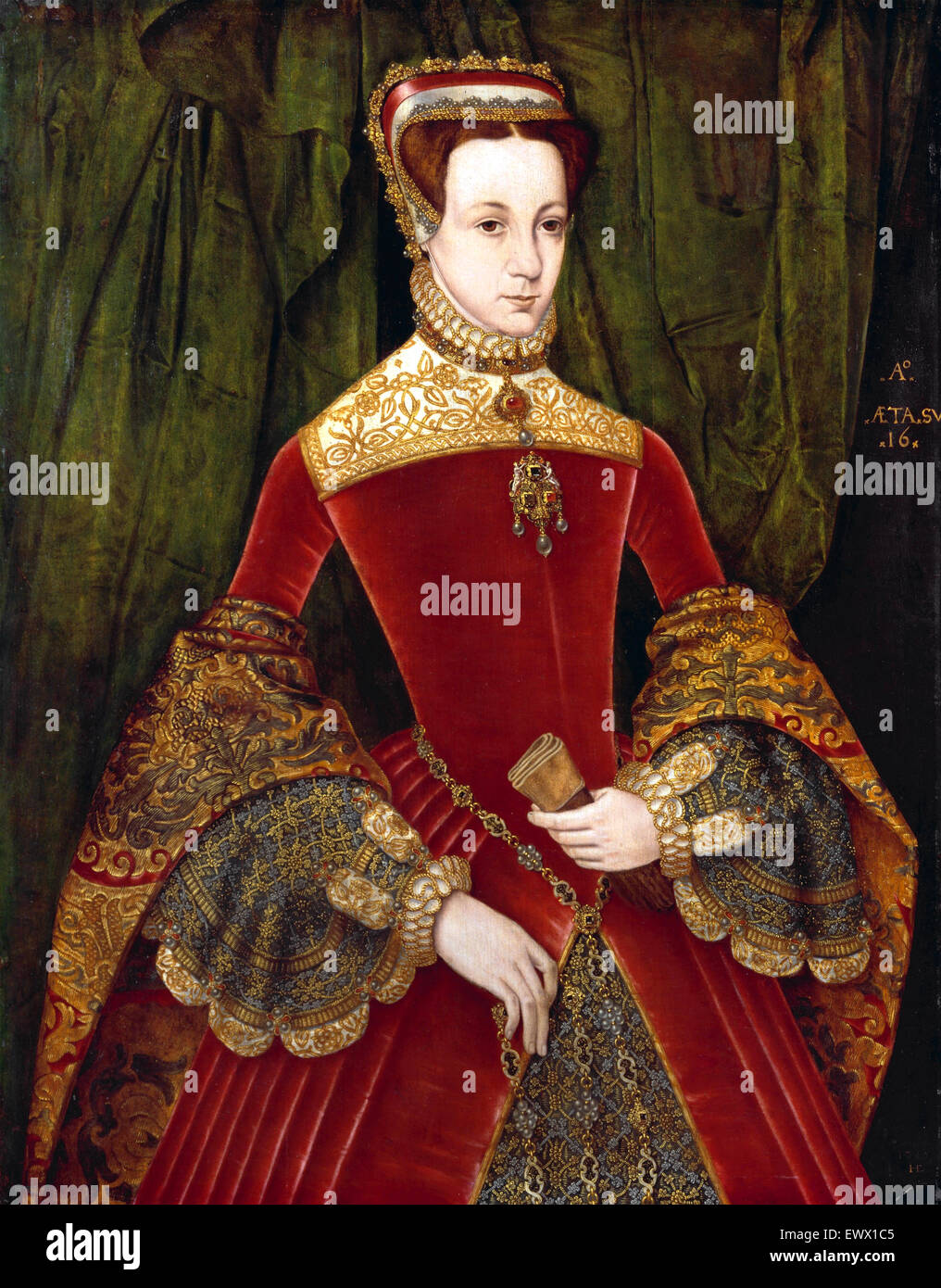 Hans Eworth, Portrait of a Woman, Aged Sixteen, Previously Identified as Mary Fitzalan, Duchess of Norfolk, 1565. - Stock Image