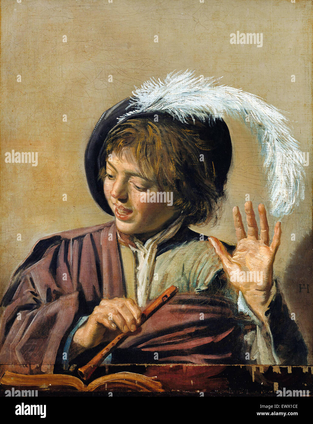 Frans Hals, Singing Boy with Flute. Circa 1623. Oil on canvas. Gemaldegalerie, Berlin, Germany. - Stock Image