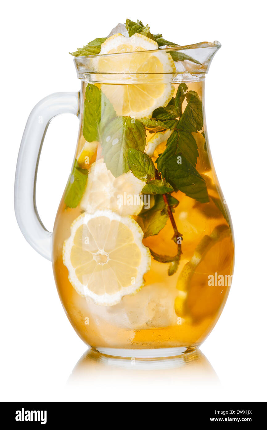 Pitcher of sweet iced tea with lemon and mint. - Stock Image