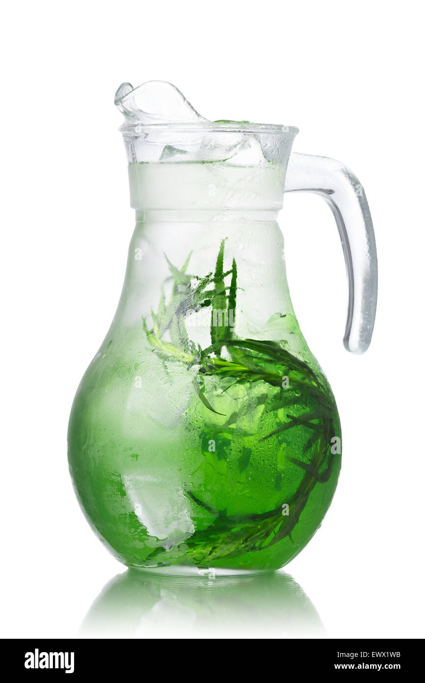 Glass pitchers with tarragon (tarkhun) infused detox water - Stock Image