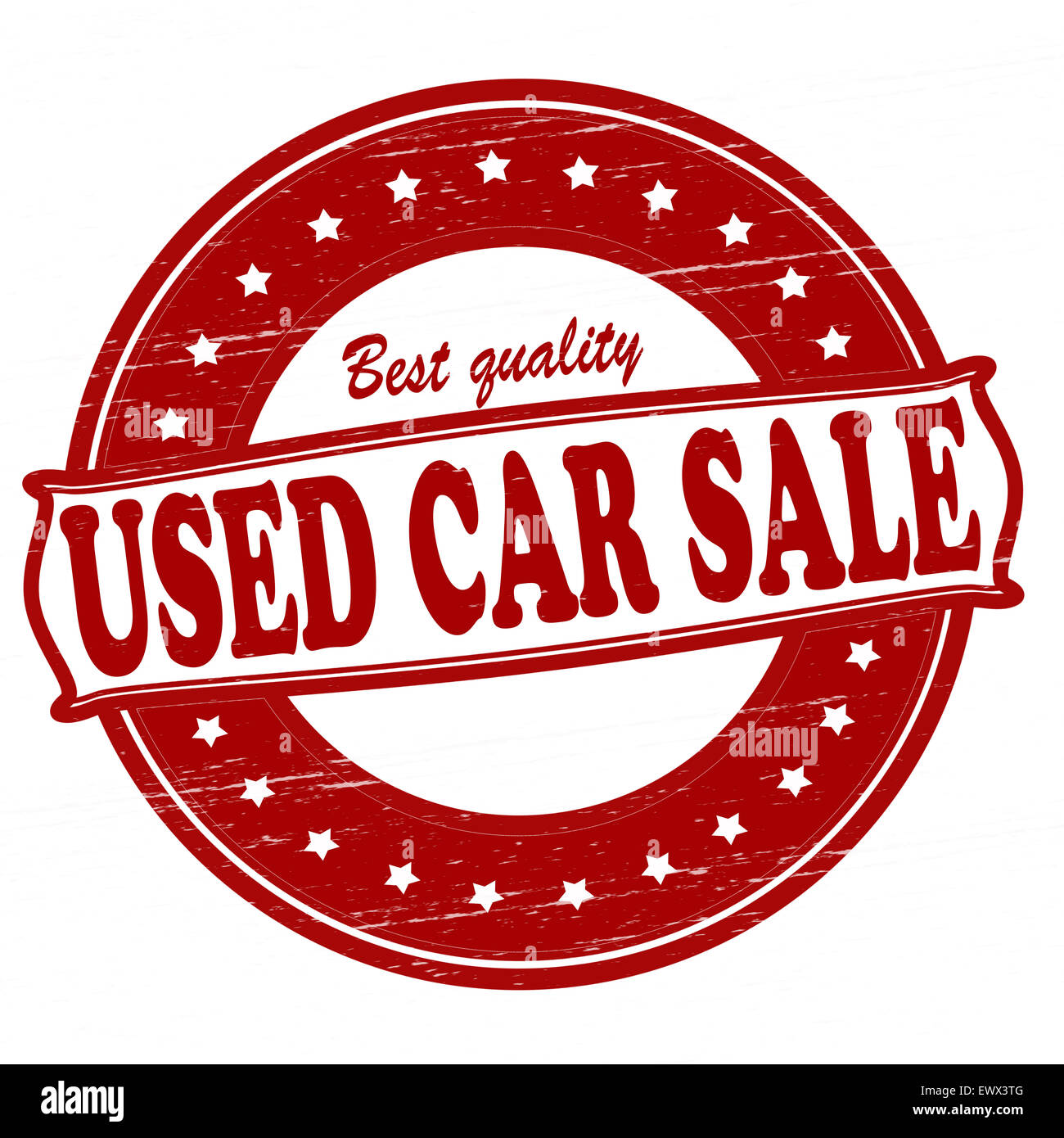Stamp with text used car sale inside, illustration - Stock Image