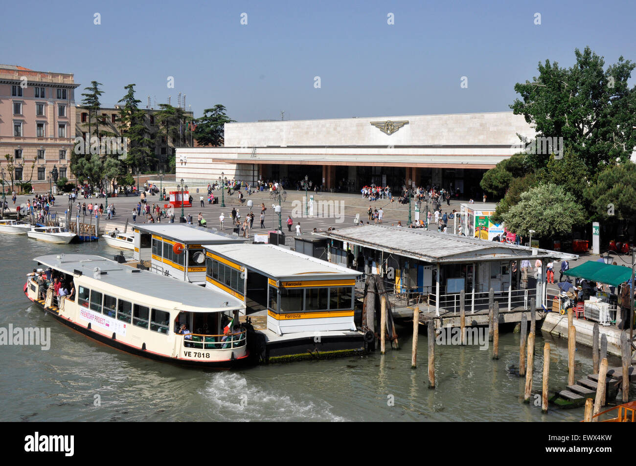 Italy - Venice Canale Grande - Cannaregio region - Ferrovia/Santa Lucia - the railway station and water bus stop. - Stock Image