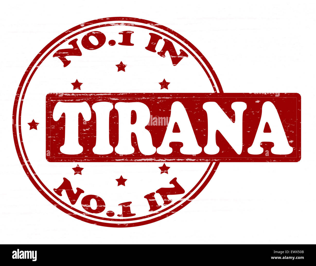 Stamp with text no one in Tirana inside, illustration - Stock Image