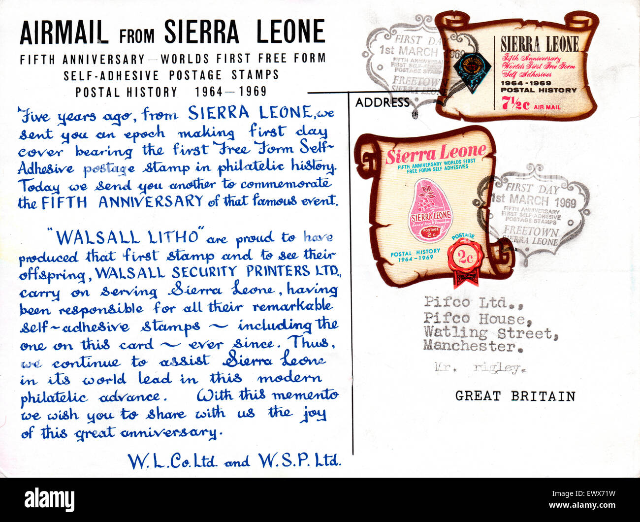 Philately, Sierra Leone, 1969 5th anniversary first day cover and free form self adhesive stamps - Stock Image
