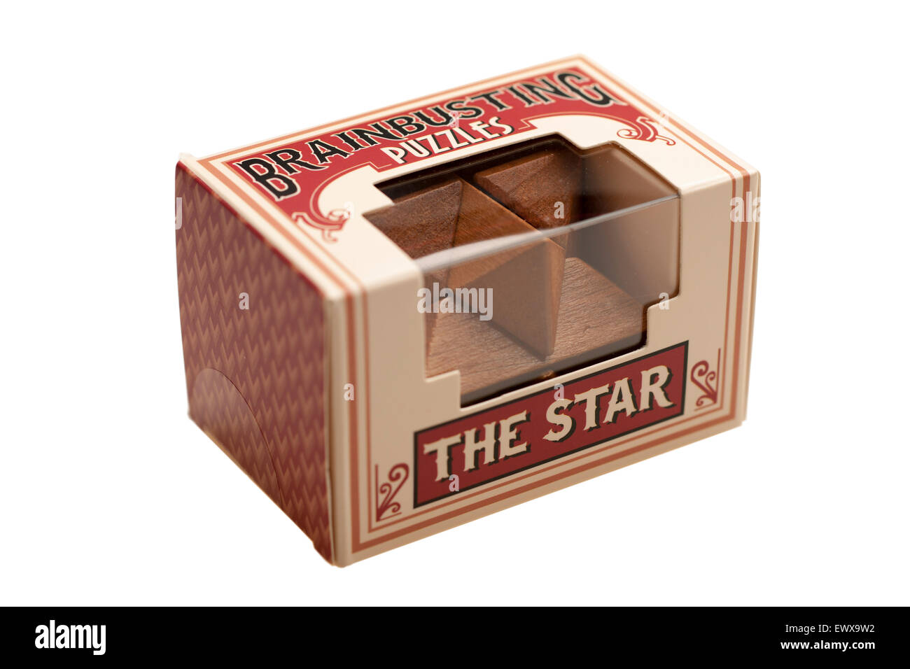 Boxed Brainbusting wooden star puzzle - Stock Image