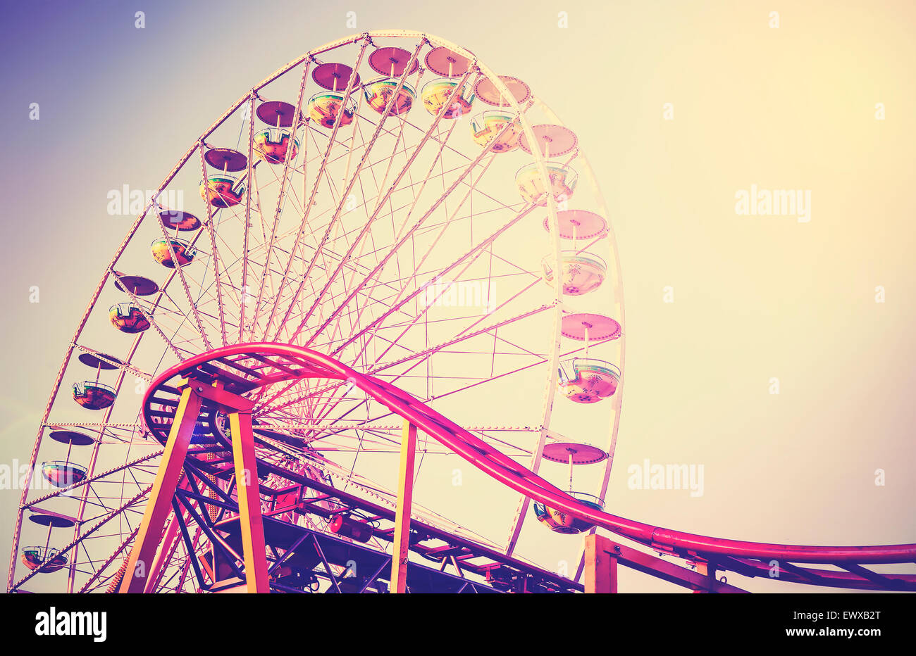 Retro vintage instagram stylized picture of an amusement park. - Stock Image