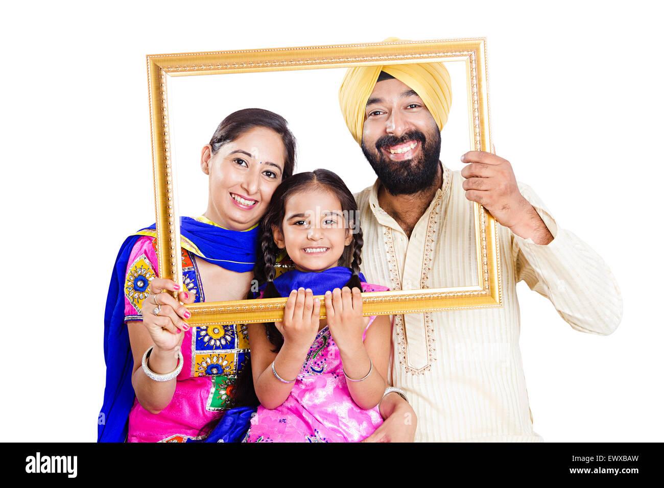 indian Punjabi Parents and daughter Picture Frame Stock Photo ...