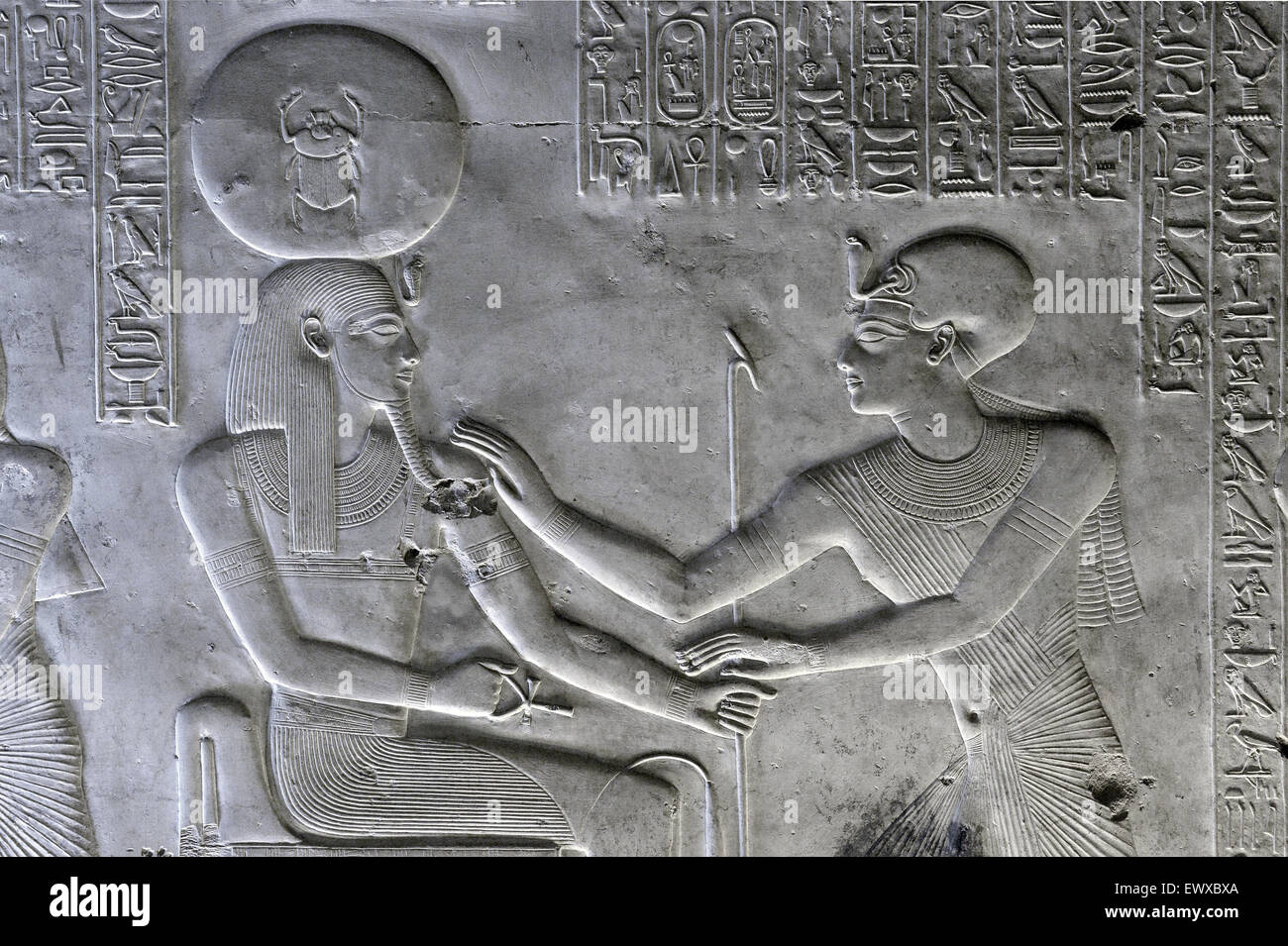 Abydos,Egypt, the mortuary temple of pharaoh Seti I, Menmaatra, (XIX° dyn. 1321-1186 B.C.) - The king adoring - Stock Image