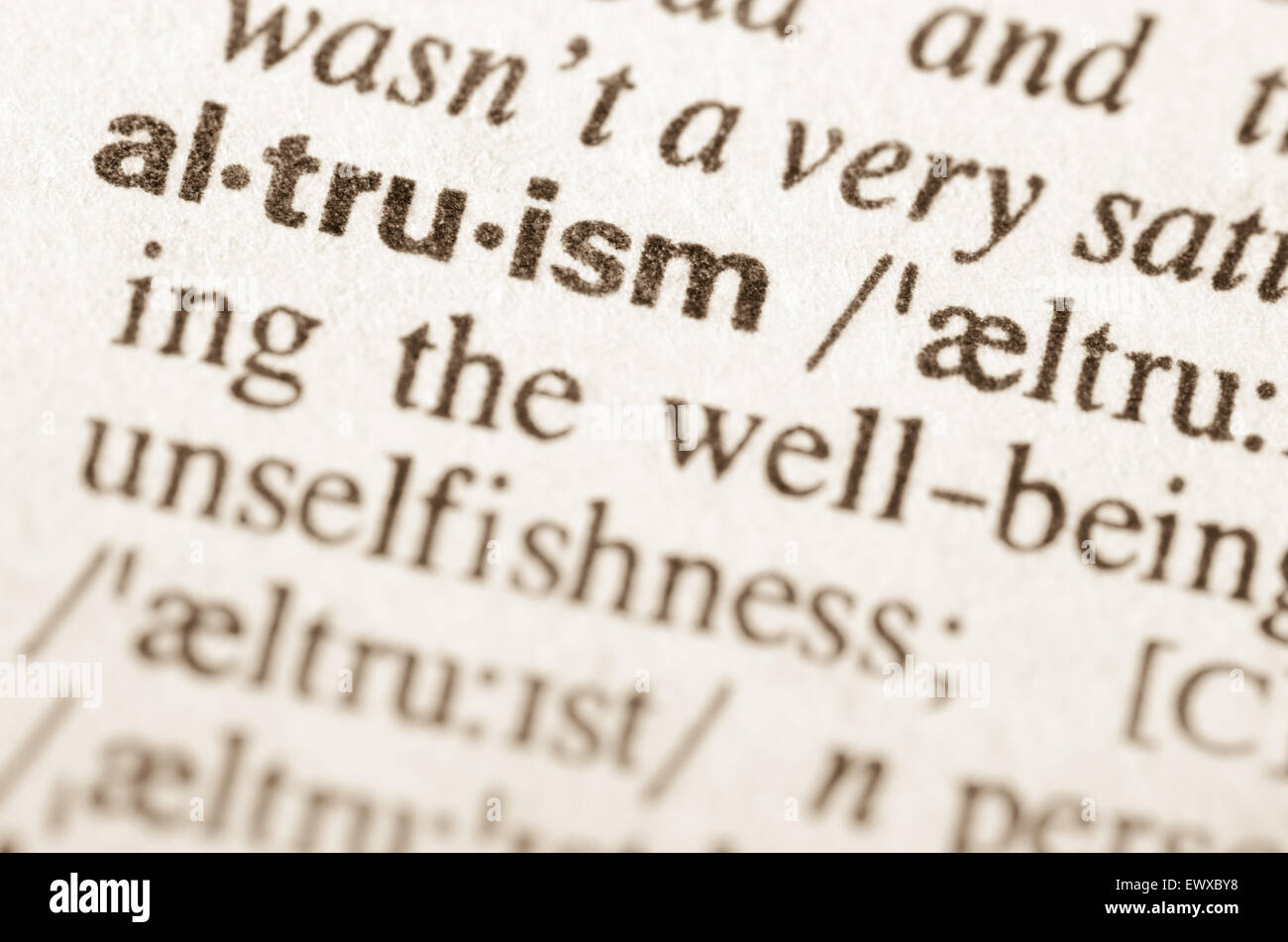 Definition of word altruism in dictionary - Stock Image