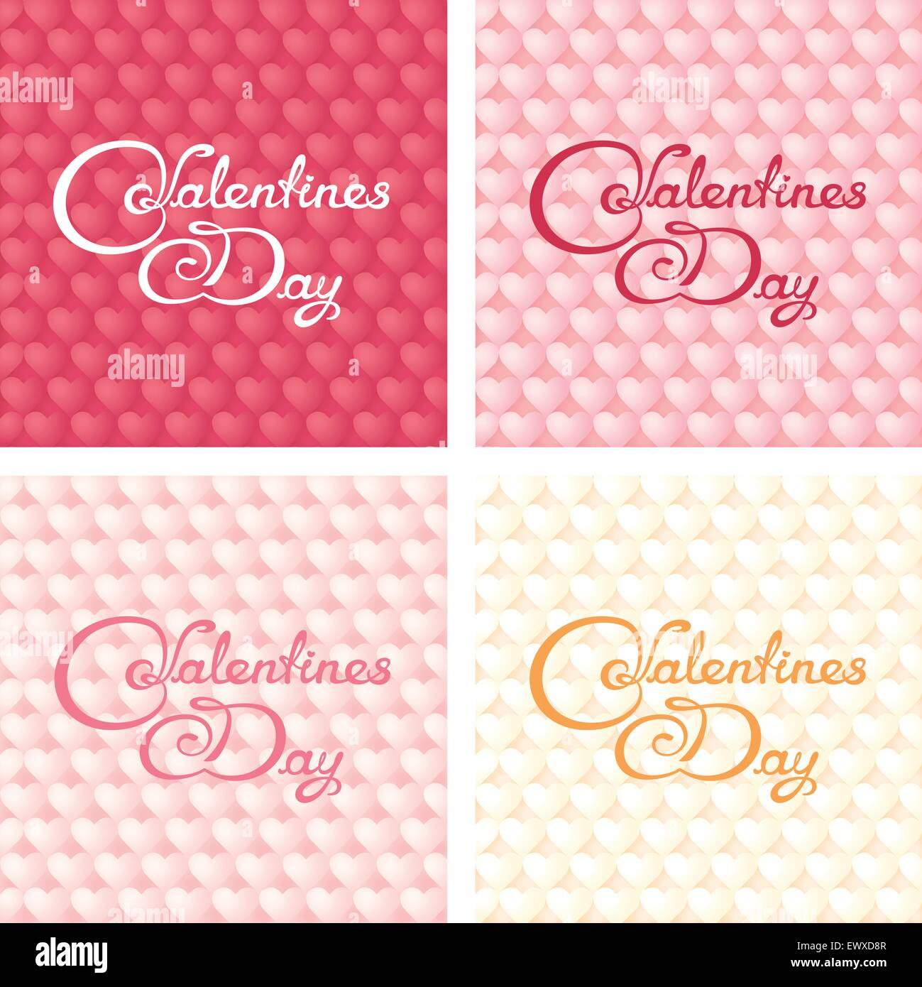 Four gentle valentines banners with calligraphy lettering on hearts background - Stock Vector