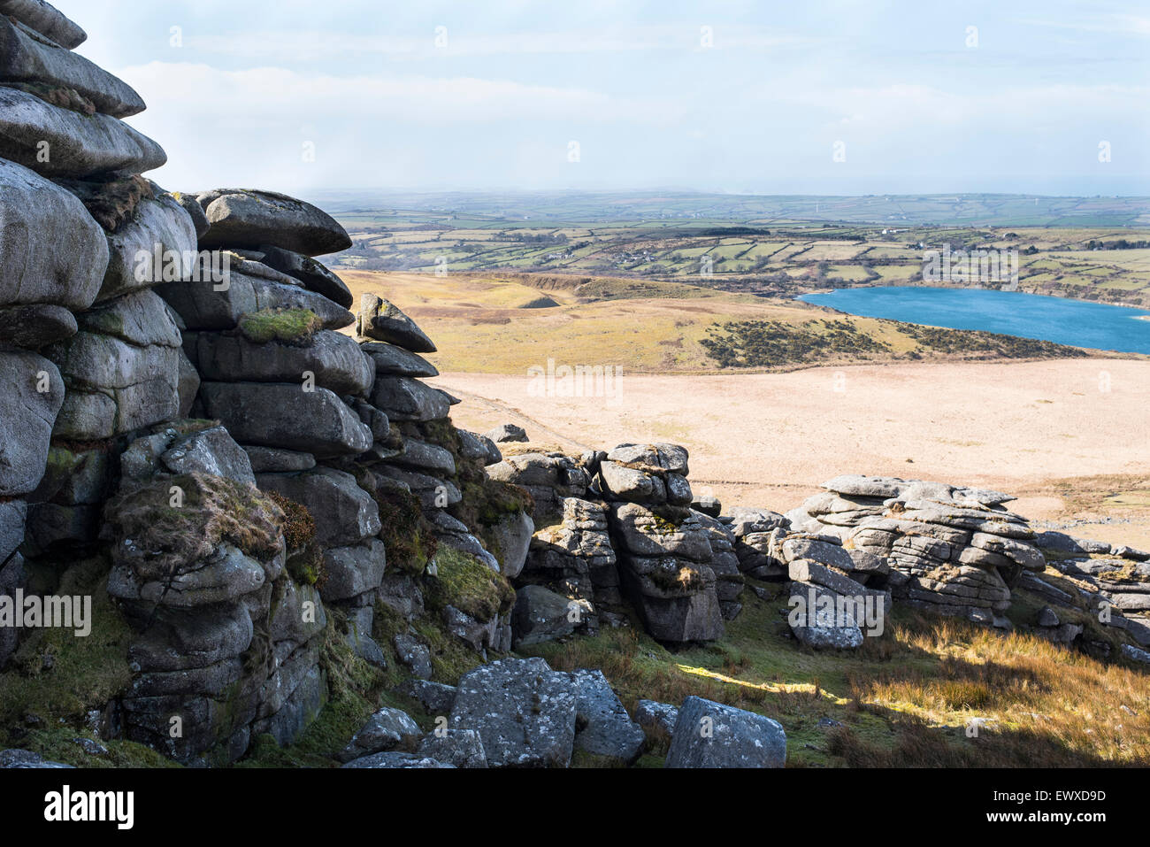 A view from ancient rock formation Rough Tor, Bodmin, over the west of Cornwall. - Stock Image