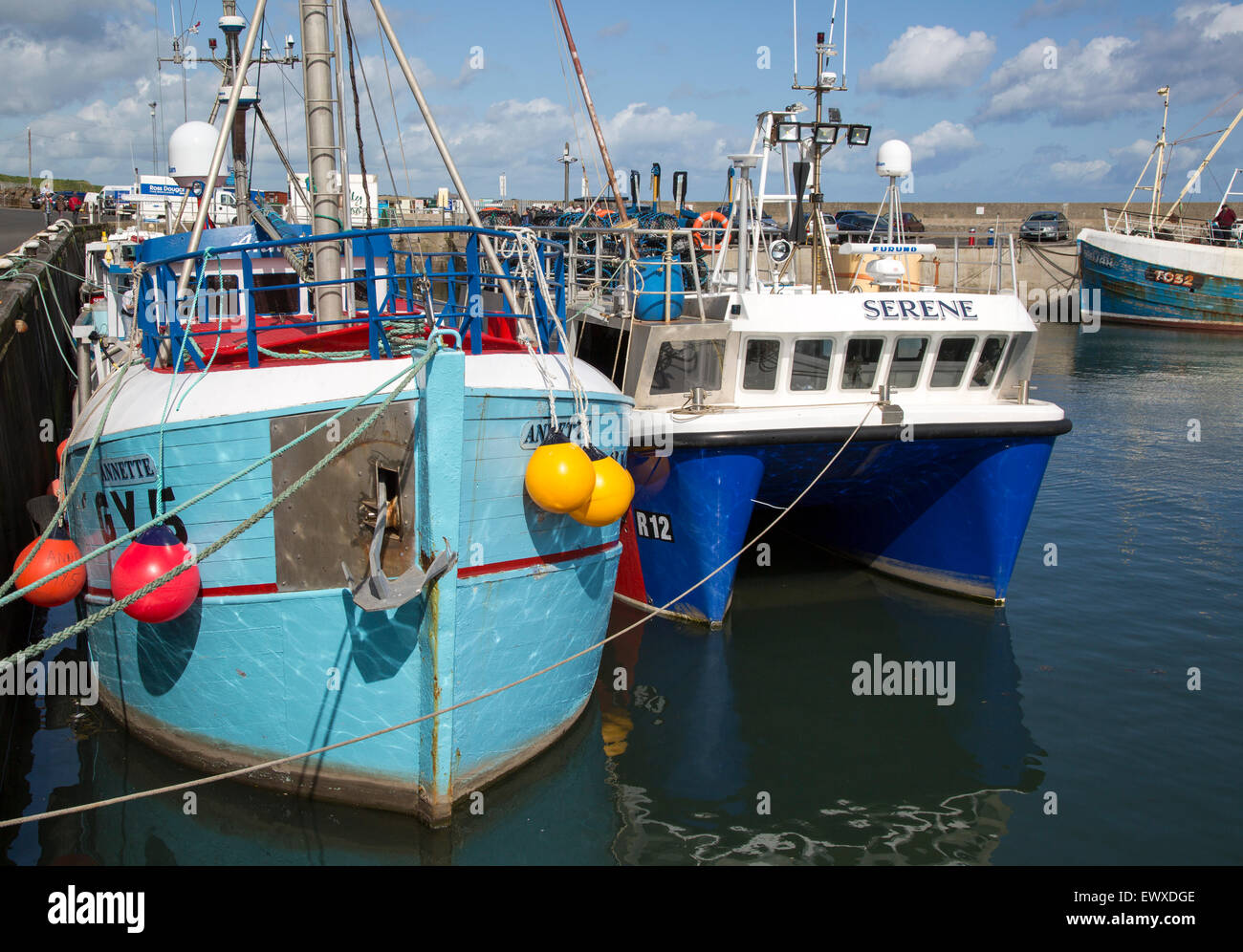 Boats in the harbour at Seahouses, Northumberland, England, UK - Stock Image