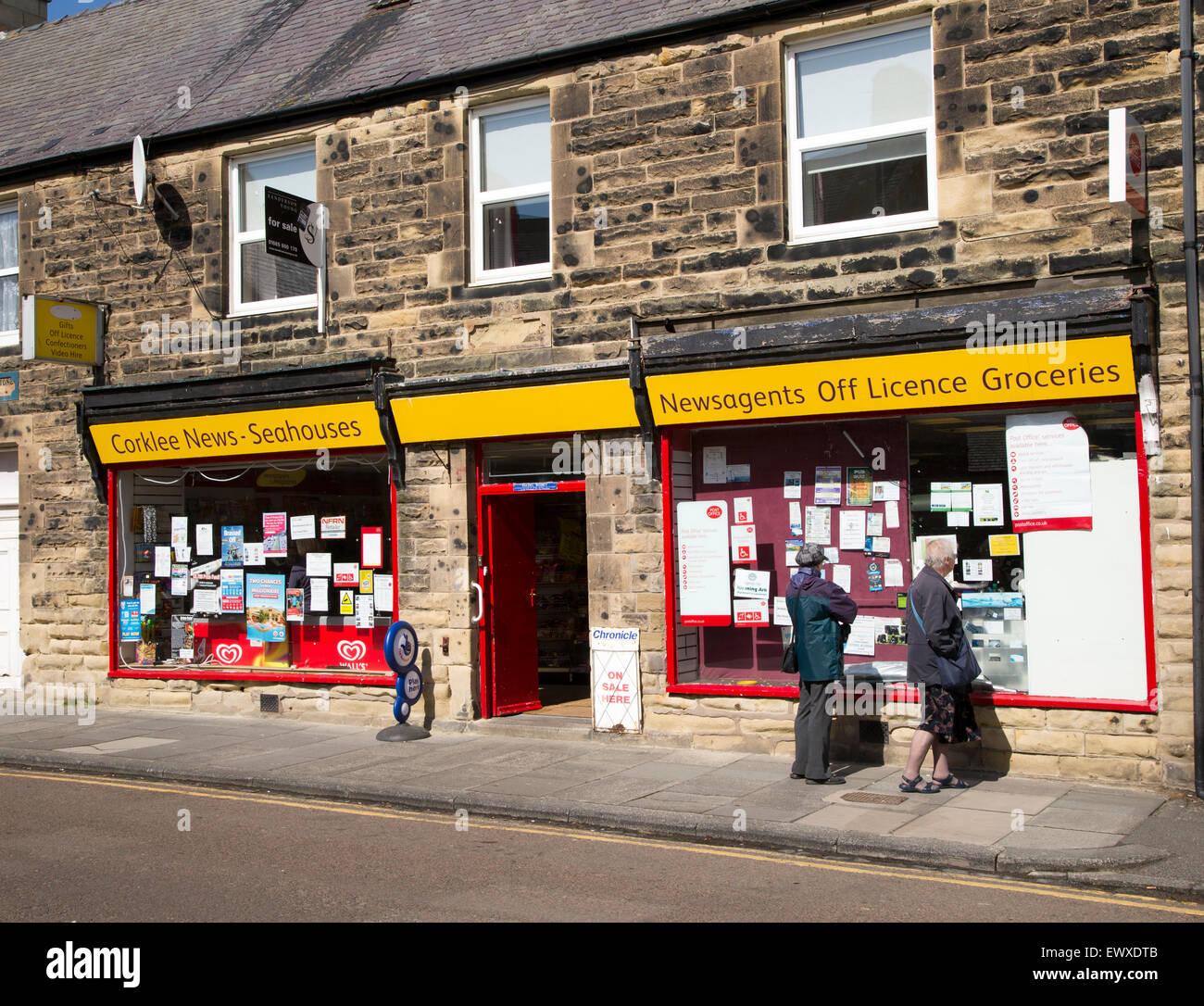 Traditional newsagent shop, Seahouses, Northumberland, England, UK - Stock Image