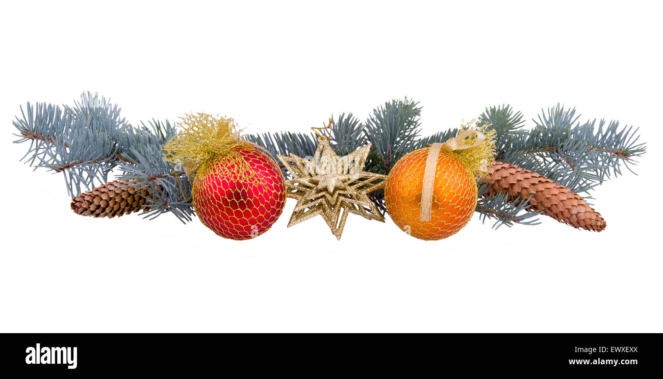 spruce branches with cones and toys - Stock Image