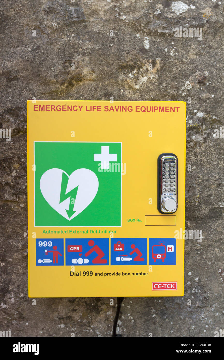Emergency Public Access External Defibrillator in the Village of Starbottom, Wharfedale, Yorkshire Dales England - Stock Image