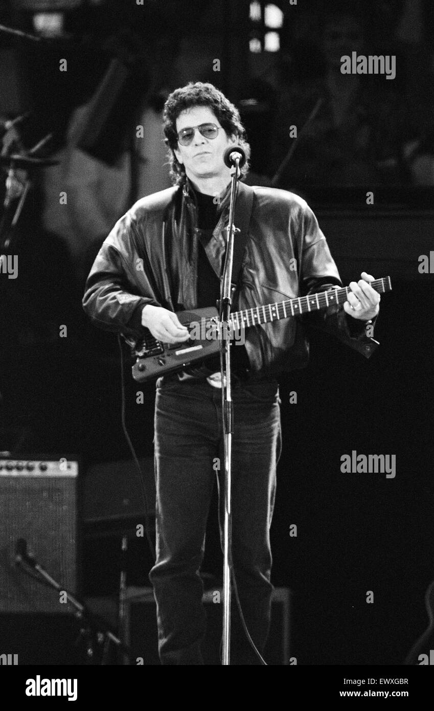 John Lennon Memorial Concert held at Pier Head, Liverpool. Lou Reed performs. 5th May 1990. - Stock Image