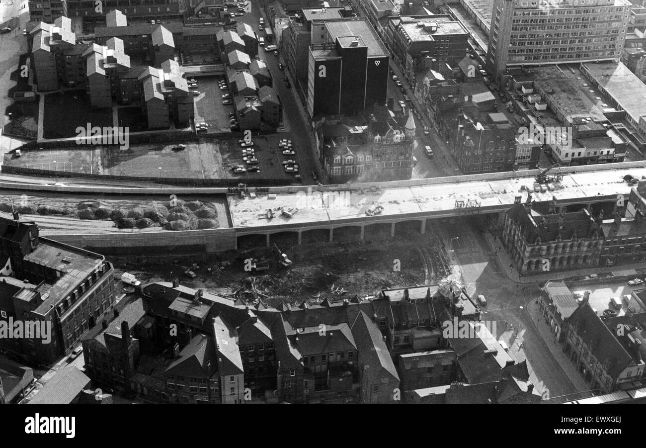 The new A66 bypass bridge over Albert Road into the centre of Middlesbrough. 17th March 1986. - Stock Image