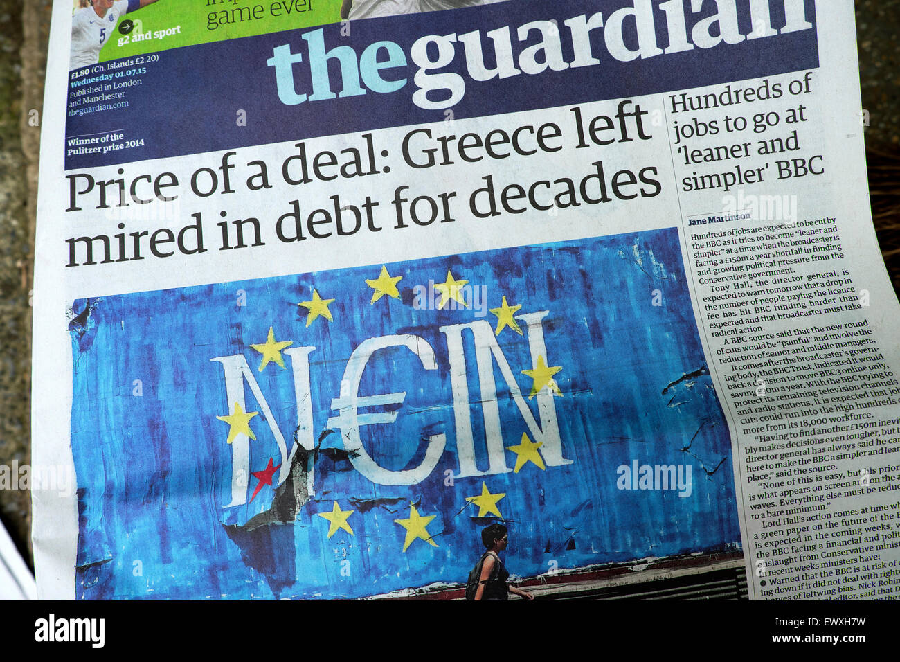 Guardian newspaper headline prior to referendum vote on 1st July 2015  'Price of a deal: Greece left mired in - Stock Image