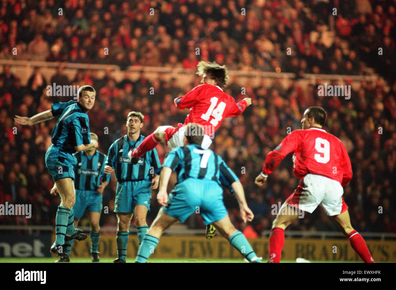 Divison One match, Middlesbrough 6 -0 Swindon Town held at the Riverside Stadium. 11th March 1998. - Stock Image
