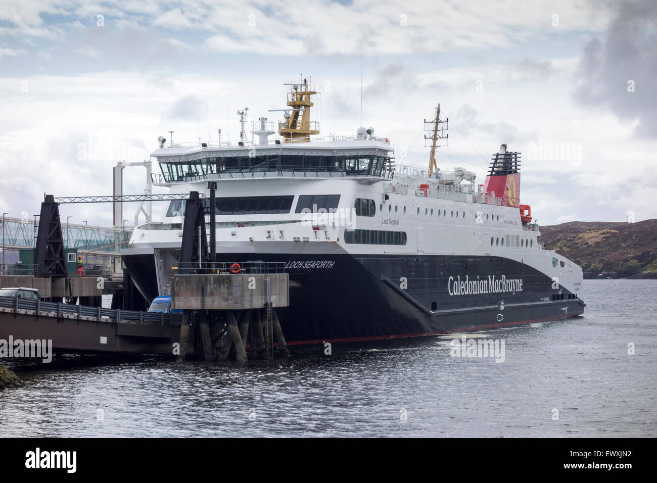 Caledonian MacBrayne's new ferry, The Loch Seaforth at Stornoway Harbour, Isle of Lewis, Western Isle, Outer Hebrides, Stock Photo