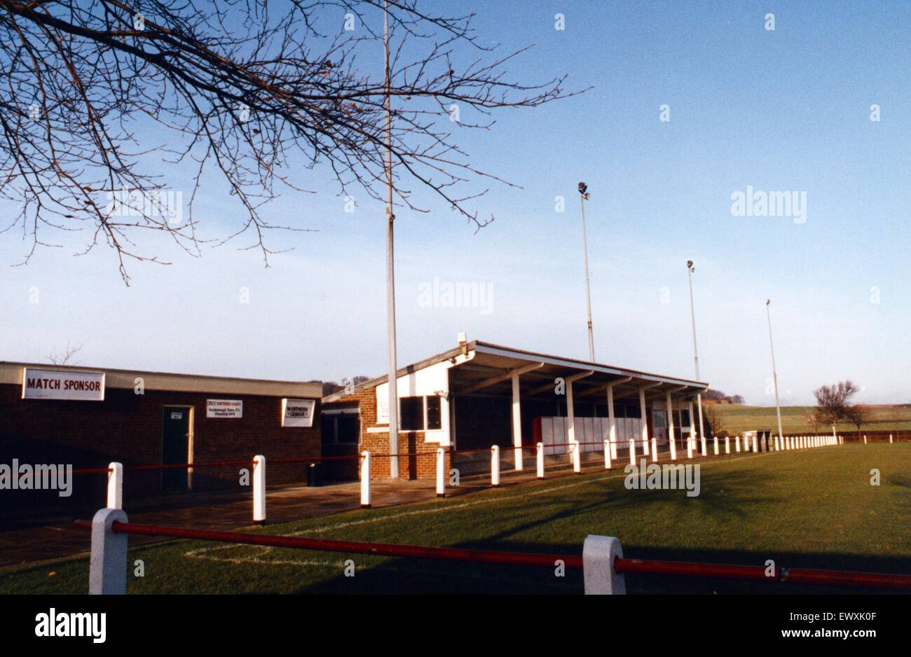 Marked improvements at the King George V Ground have brought Guisborough Town F.C's home up to the exacting - Stock Image
