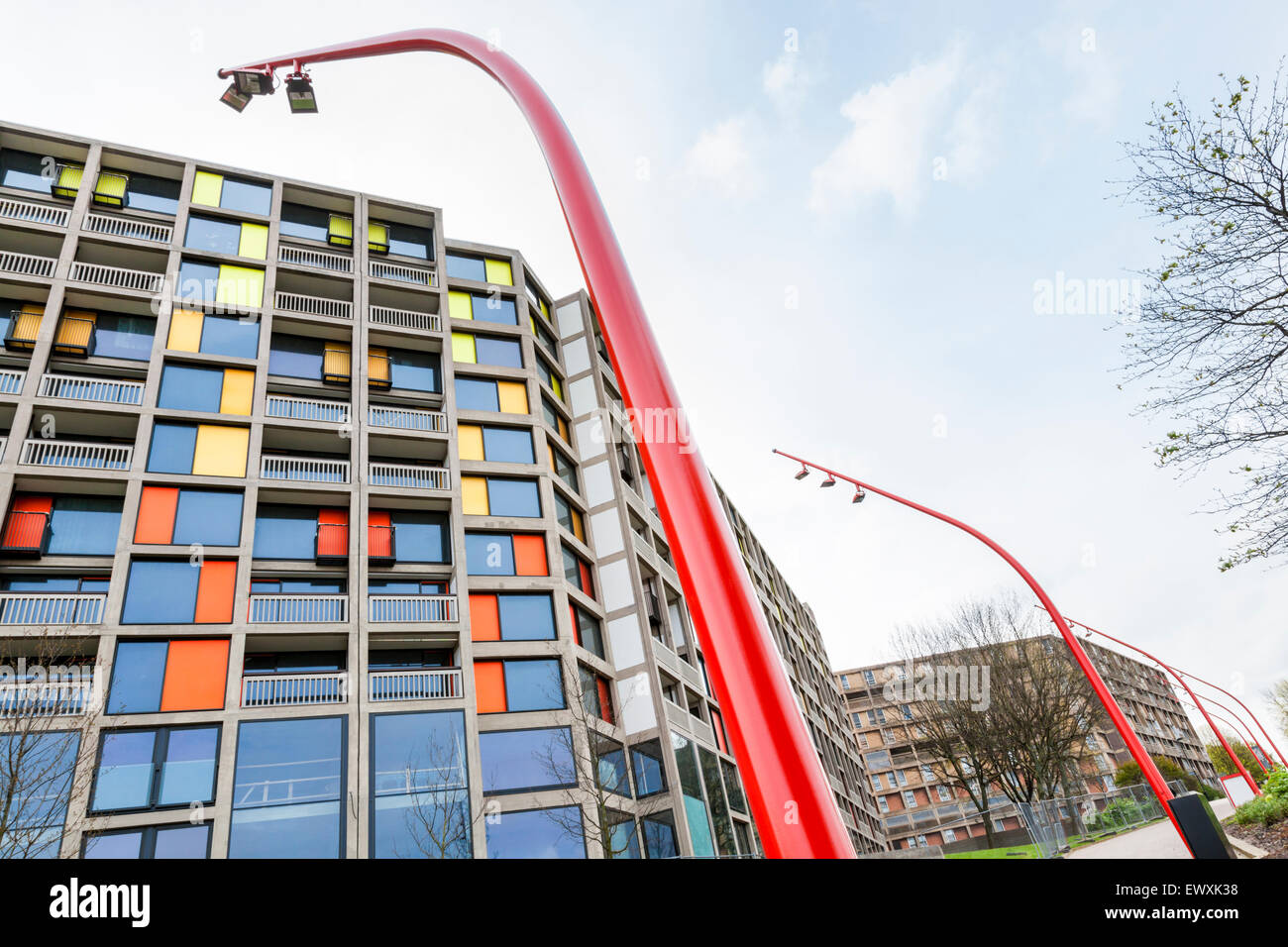 Regeneration. Modern lampposts and street lights next to the newly refurbished Park Hill apartments in Sheffield, - Stock Image