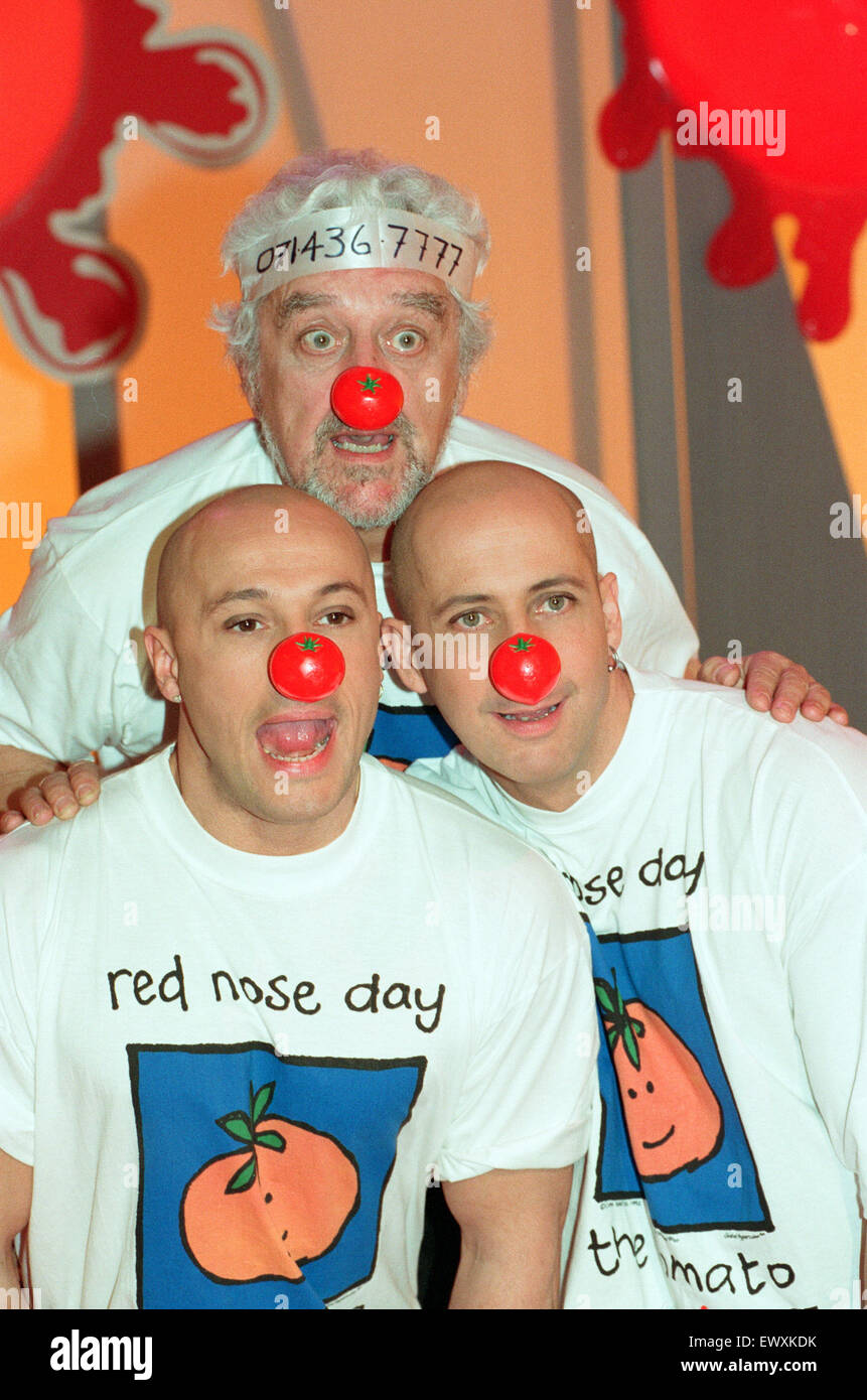 Fred Fairbrass and his brother Richard of Right Said Fred filming Comic Relief filming for Red Nose Day at Pebble - Stock Image