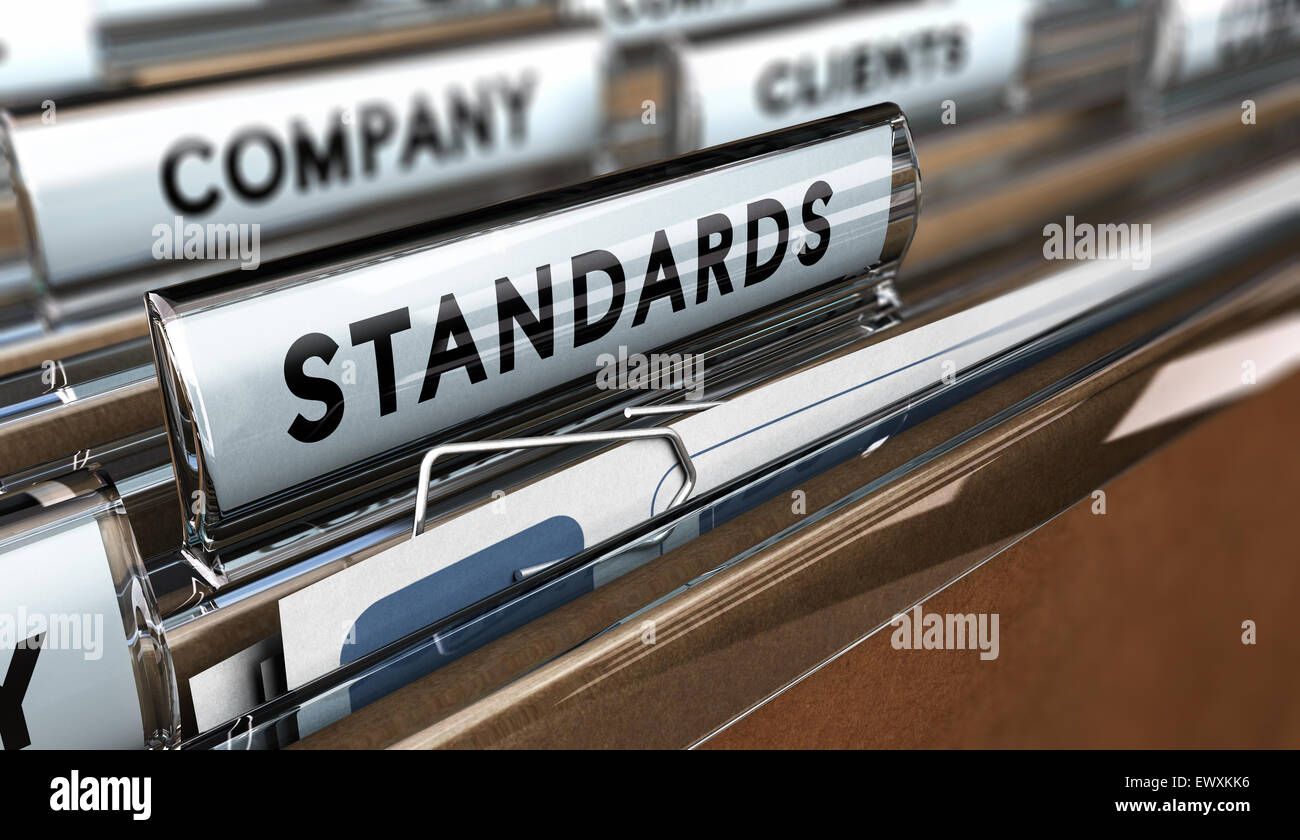 Close up on a file tab with the word standards, focus on the main word and blur effect. Concept image for illustration - Stock Image