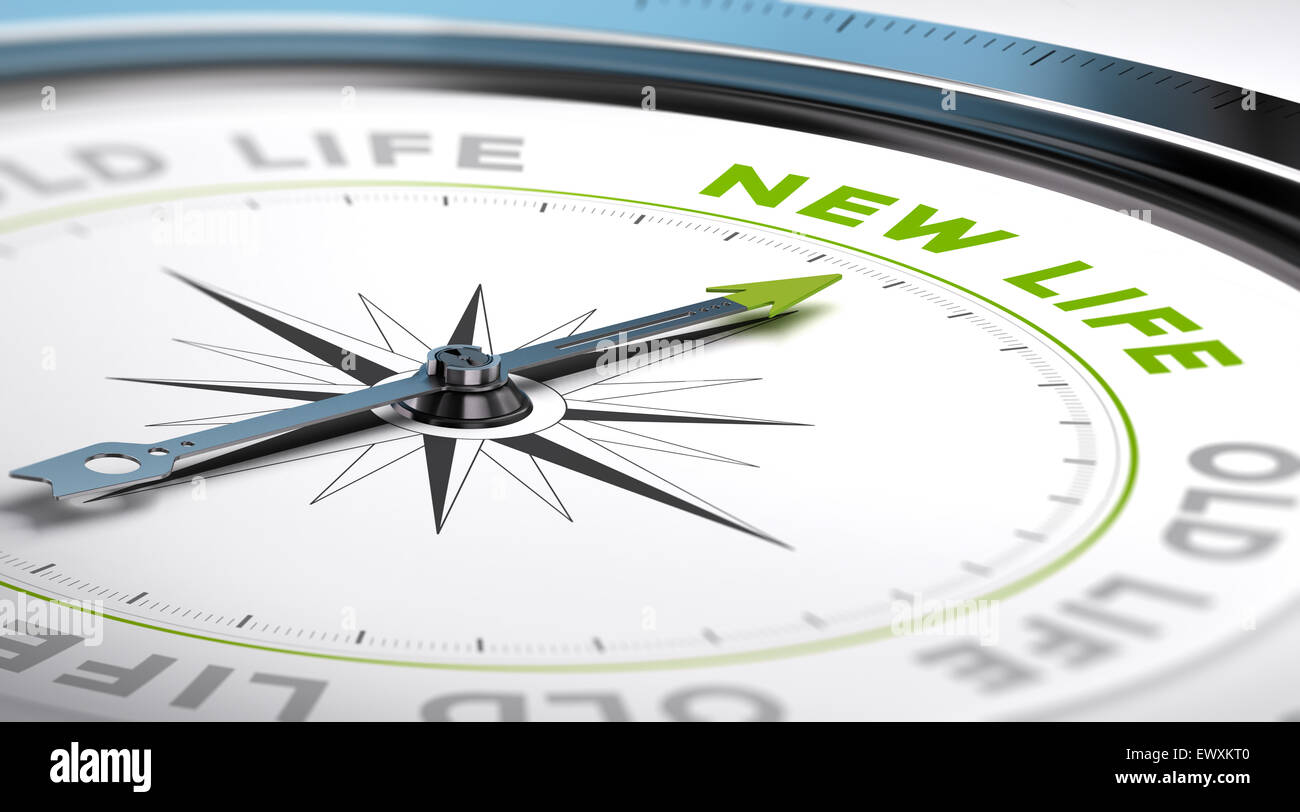 Compass with needle pointing the text new life. Conceptual illustration suitable for change motivation. - Stock Image