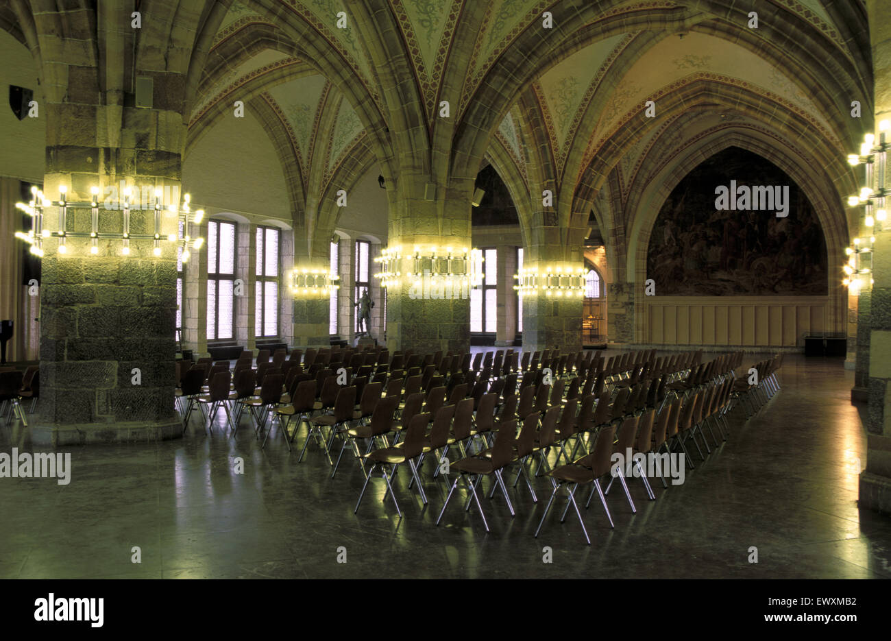DEU, Germany, Aachen, the Coronation hall at the town hall at the market place.  DEU, Deutschland, Aachen, das Rathaus Stock Photo