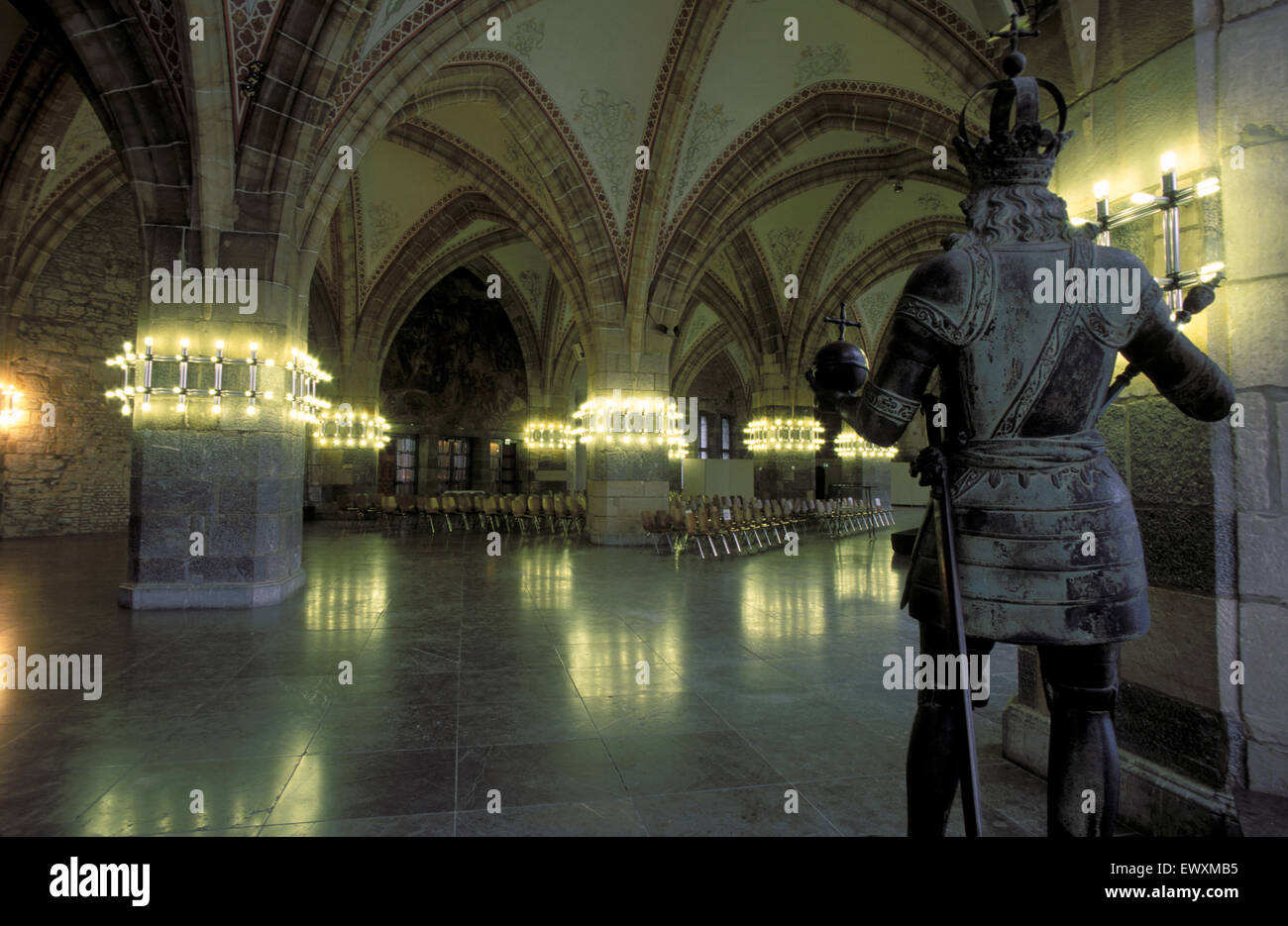 DEU, Germany, Aachen, the Coronation hall at the town hall at the market place, statue of Charlemagne.  DEU, Deutschland, Stock Photo