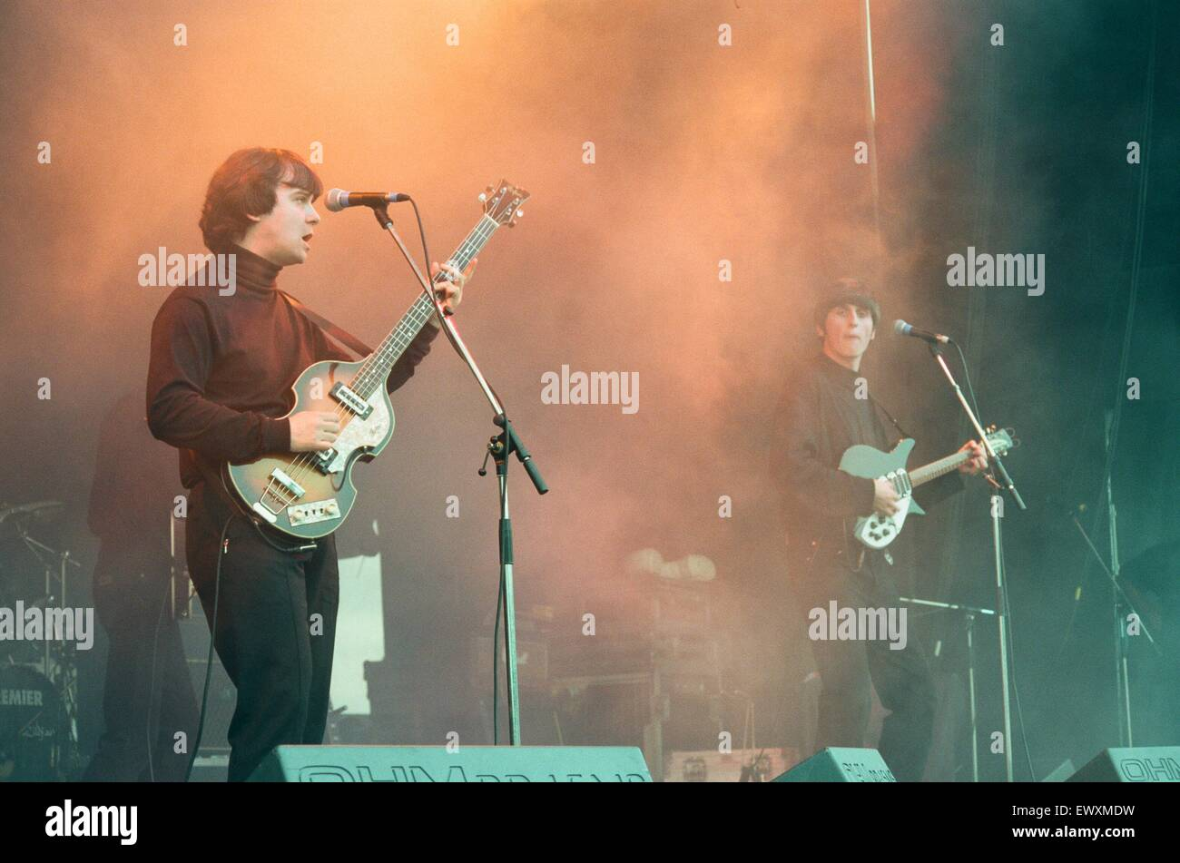 A 60's and 70's concert featuring look-a-like bands Beatlemania and Bjorn Again was held at Ormesby Hall - Stock Image