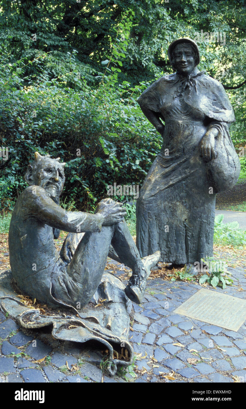 DEU, Germany, Aachen, sculpture of the devil and the farmer´s wife at the Lousberg.  DEU, Deutschland, Aachen, - Stock Image