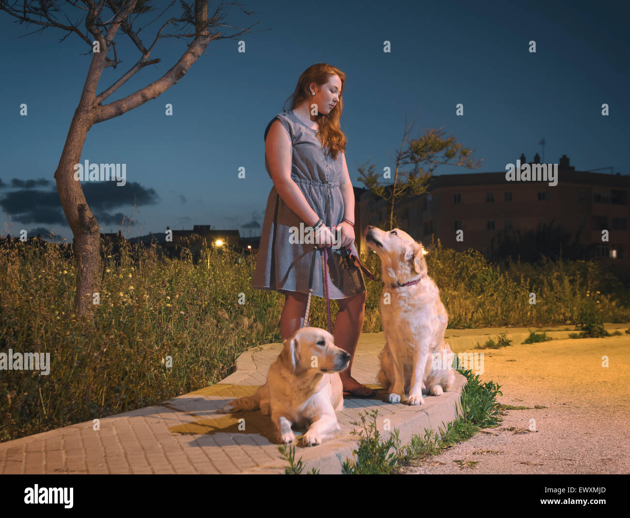 Young teenager with her pet dogs on the street. - Stock Image