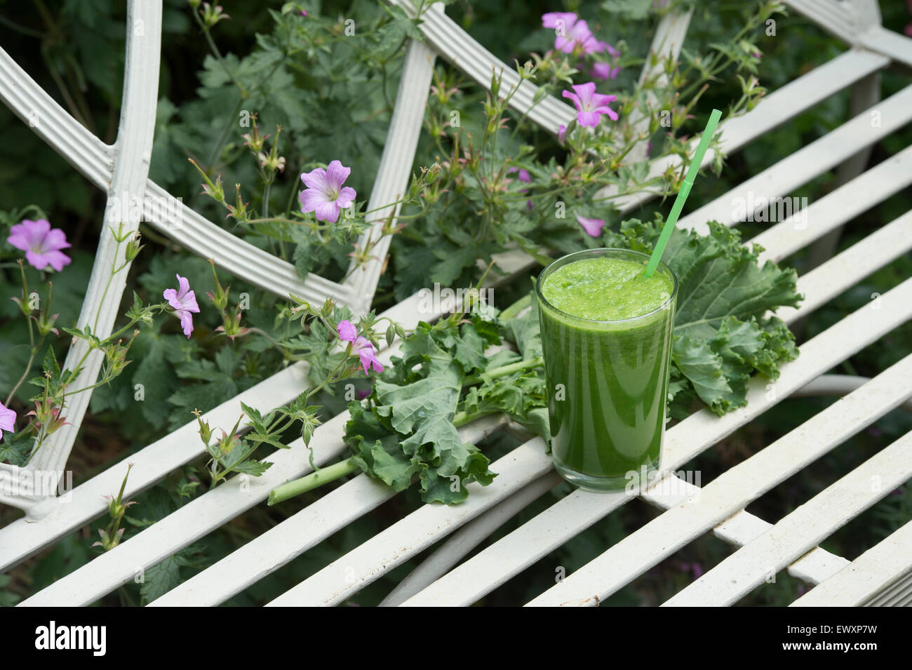 Raw green leaf and fruit smoothie in a glass - Stock Image