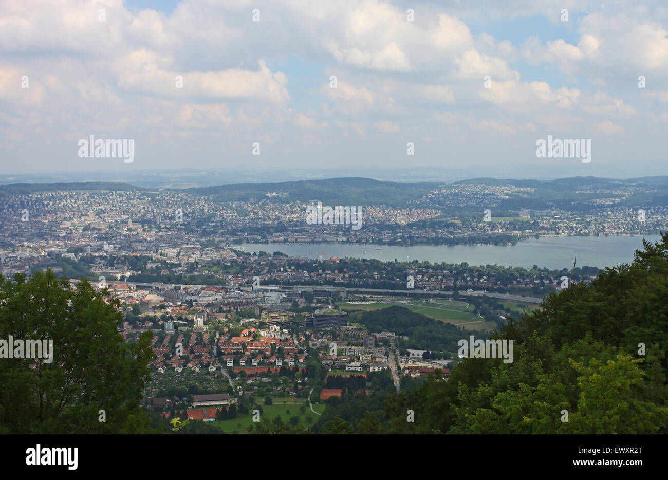 View over the city and lake of Zurich, from Uetliberg mountain Stock Photo