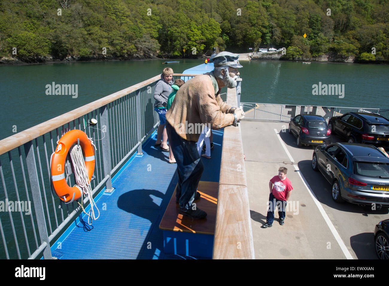 Sculpture of an Old Man on the King Harry Ferry Bridge vehicular chain ferry crossing River Fal, Cornwall, England, Stock Photo