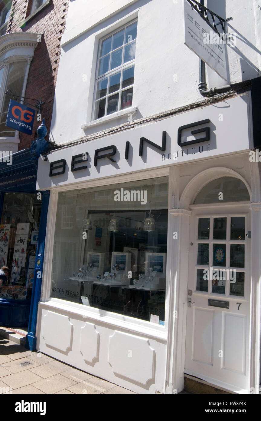 bering watch watches shop shops danish york uk - Stock Image