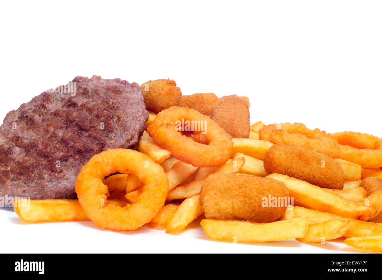 spanish fattening food: burgers, croquettes, calamares and french fries, on a white background - Stock Image