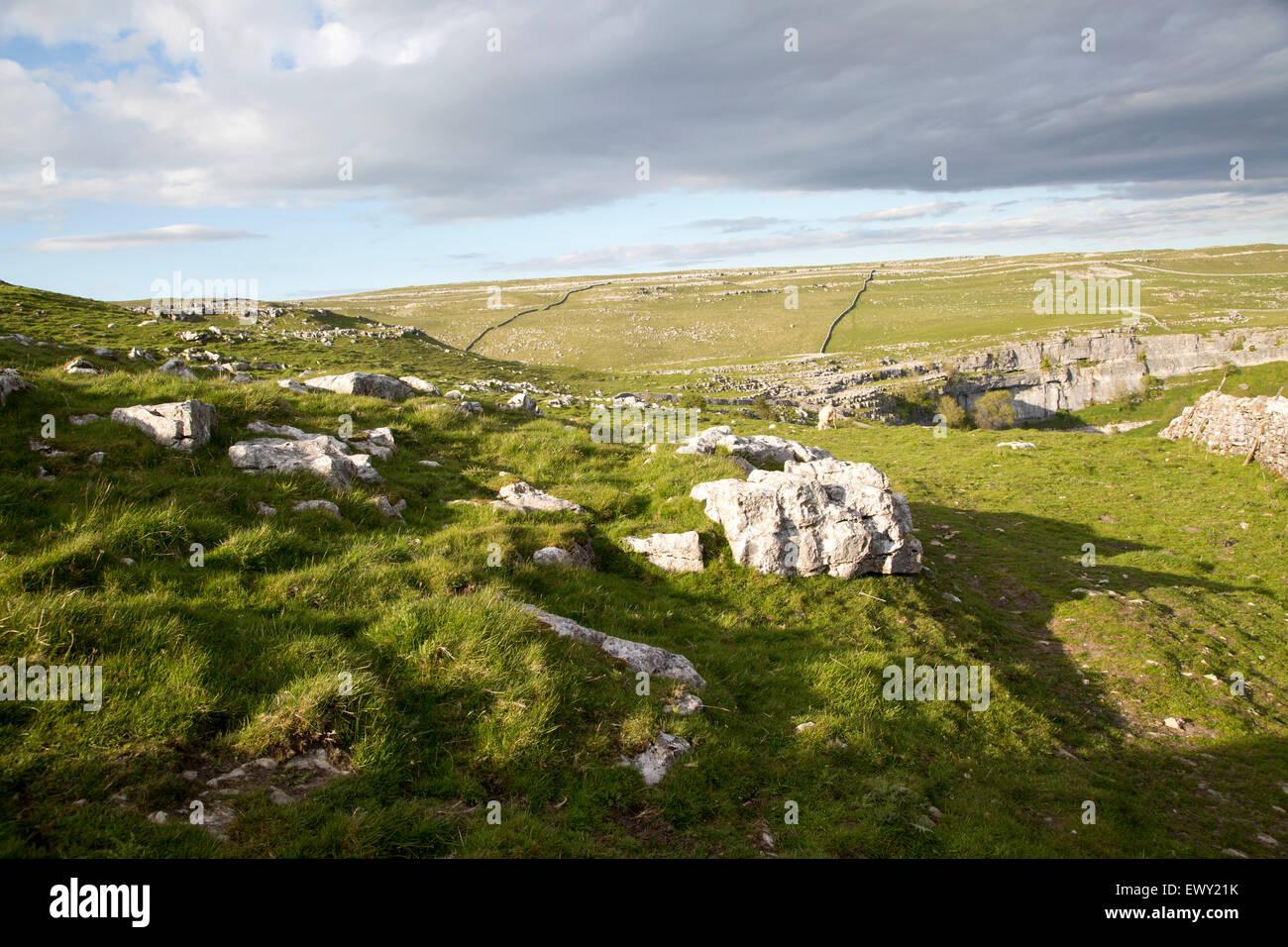 Carboniferous limestone scenery, Malham, Yorkshire Dales national park, England, UK - Stock Image