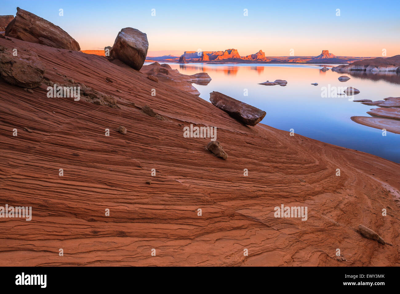 Padre Bay, from Cookie Jar Butte. Lake Powell, Utah, USA - Stock Image