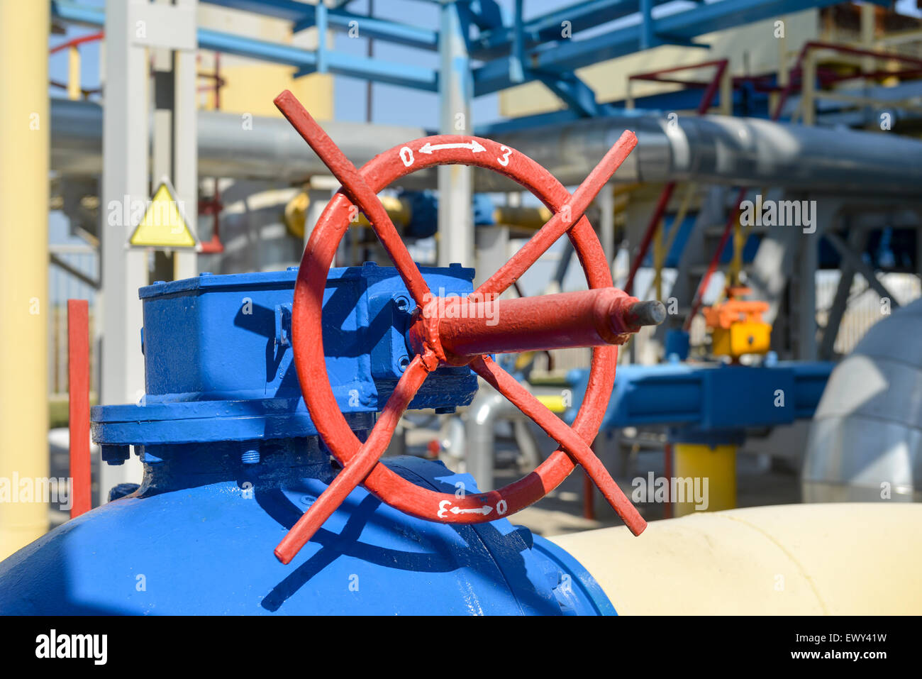Gas compression station in bright sunny summer day - Stock Image