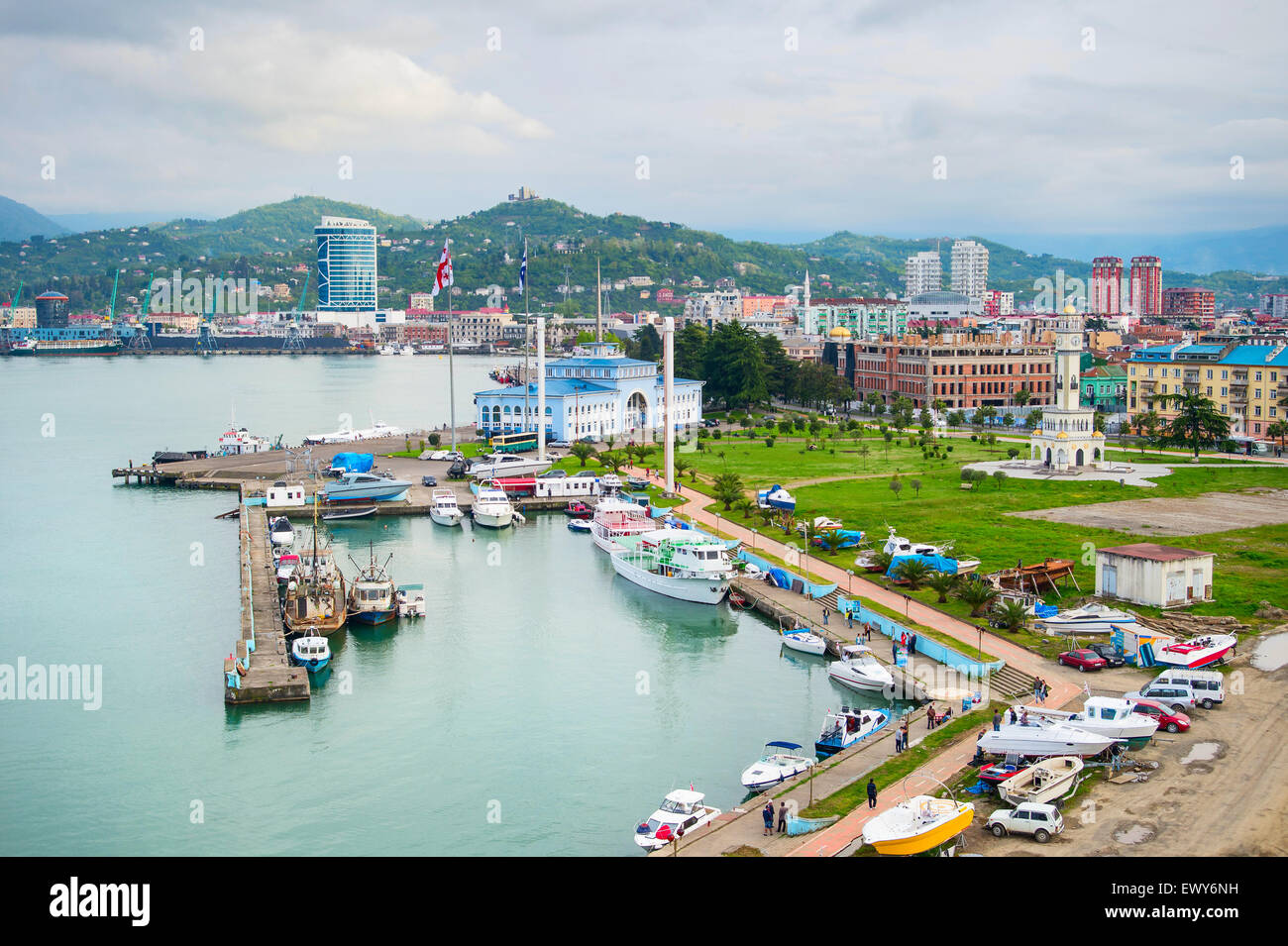 Batumi Sea Port with boats and passenger terminal. Georgia - Stock Image