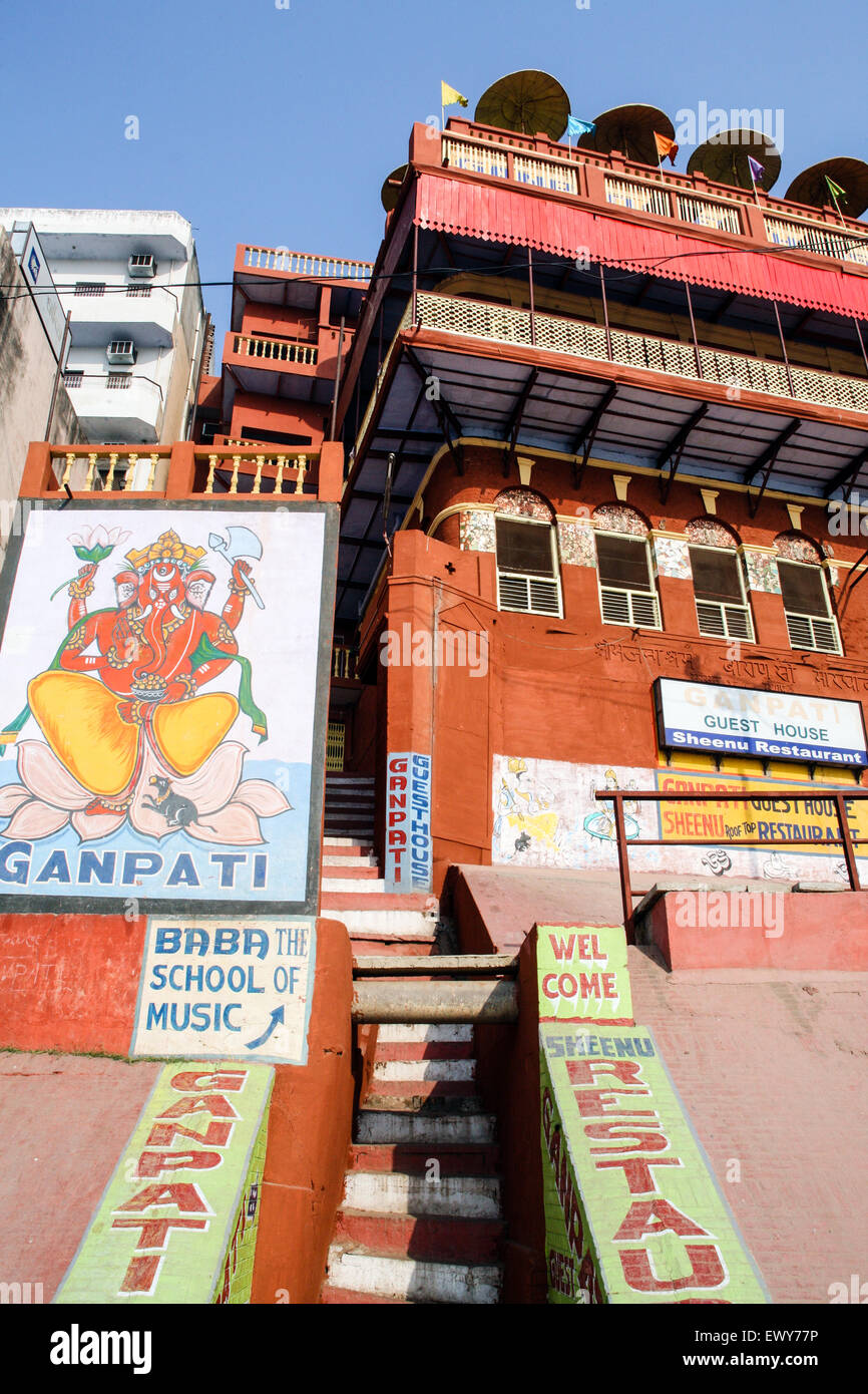 Entrance and wall mural to Ganpati Guest House cheap / budget accommodation with rooftop restaurant overlooking Stock Photo