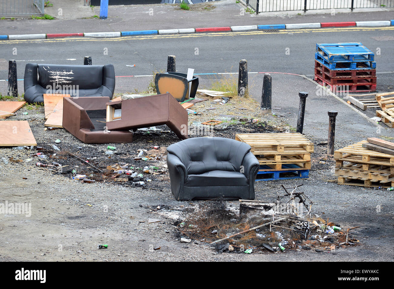 Rubbish at bonfire site in the Loyalist Fountain Estate, Londonderry (Derry), Northern Ireland. - Stock Image